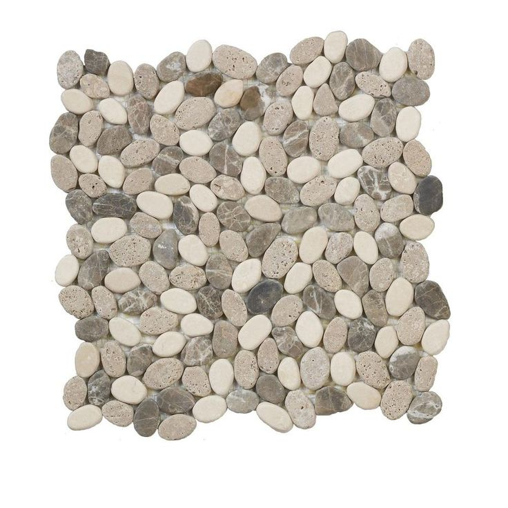 Jeffrey Court Emperador River Rocks 12 in. x 12 in. Marble Wall and Floor Tile-99049 at The Home Depot