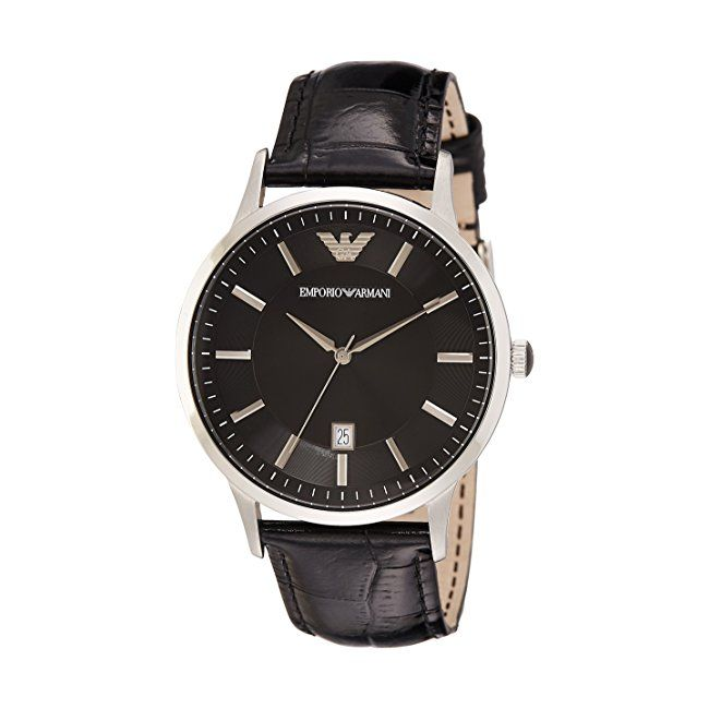 #mens #watches AR2411 Gents Armani Black Leather Strap Watch