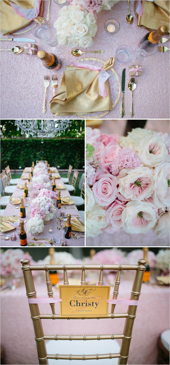 pink and gold bridal shower ideas...love everything about this! (except the pic that shows the acrylic nails, gross.)