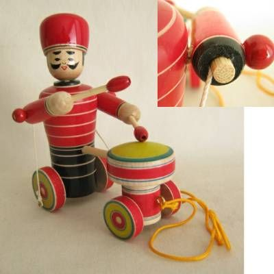 Traditional Drummer Pull Toy, New, Damaged   Kyoto Traditions