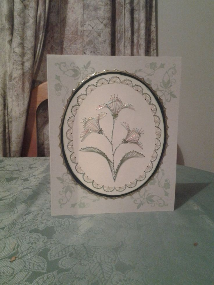 Embroidered card.