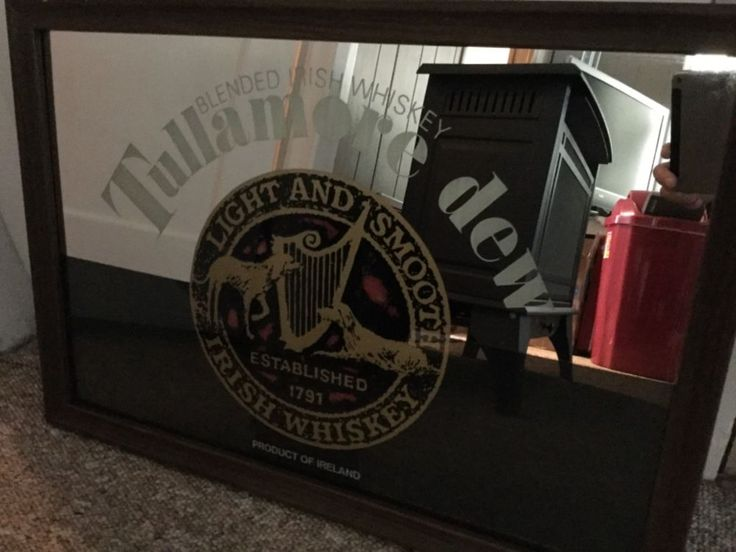 "Tullamore Dew Blended Irish Whiskey Light and Smooth Framed Mirror 26""W by 18""H  #TullamoreDew"
