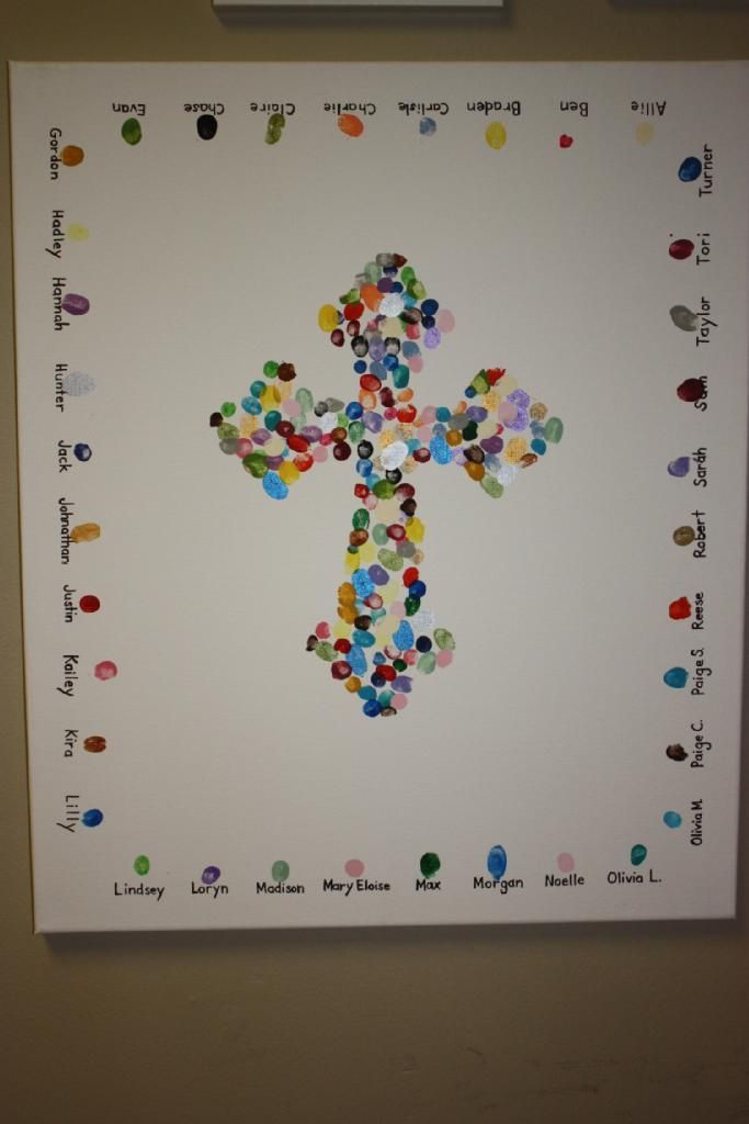 Not to do a cross shape, but having each kid's name next to a thumbprint around the sides is a cute idea.