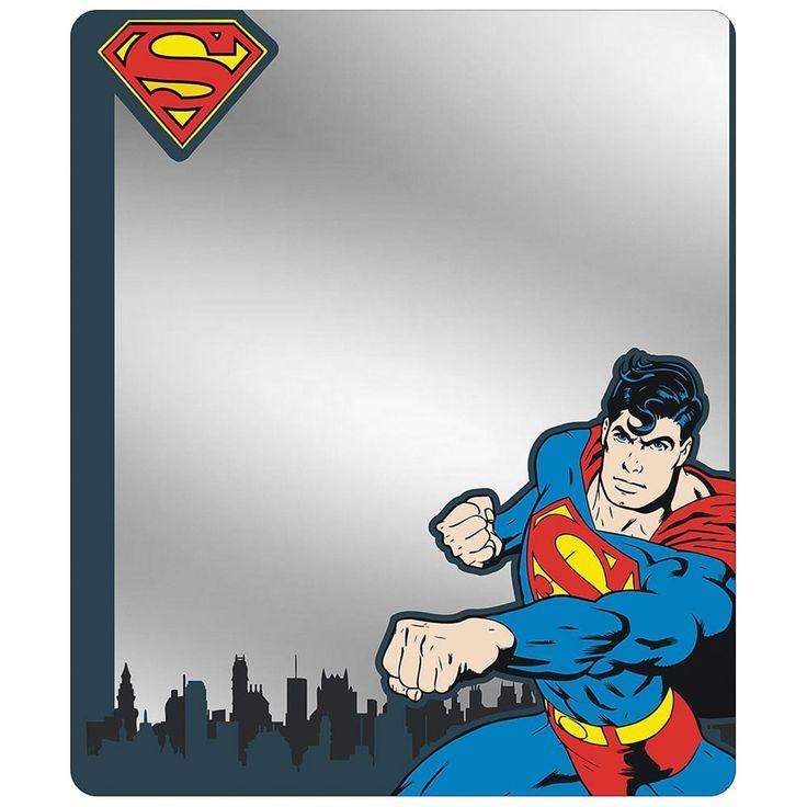 Superman Shield Punching Pose Skyline Blues Locker Mirror One Size, Silver steel