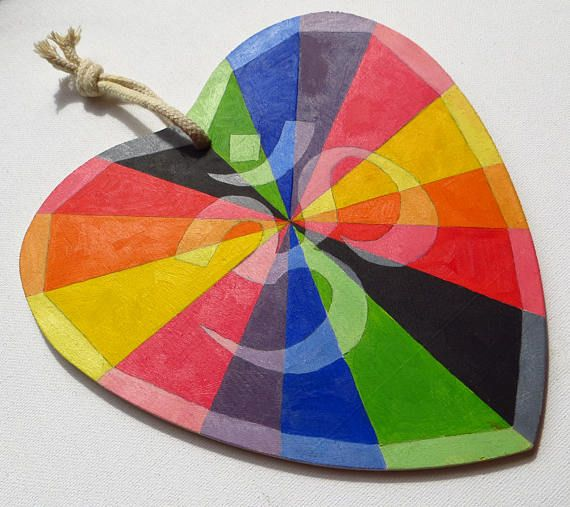 Rainbow Om Symbol Wooden Heart Zen and Meditation Om