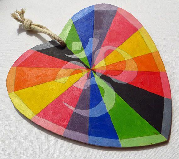 Rainbow Om Symbol Wooden Heart Zen and Meditation Om
