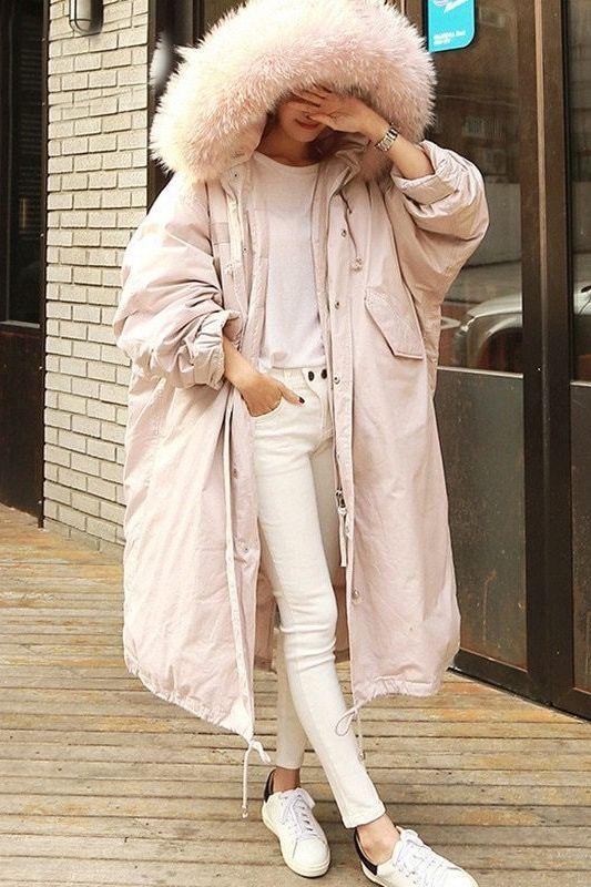 202cd62c4ab Women s Light Pink Long Oversized Winter Coat with faux fur hood.  pinkcoat   womenspinkcoat  womenscoat  wintercoat  winterfashion  pinkfurhoodcoat