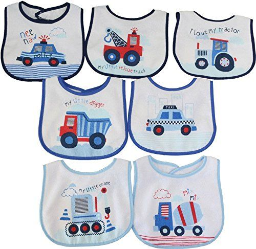 buy now   									£4.99 									  									Pack of 7 Baby Boys Girls Bibs | Blue, Red & White | Tractor Car Truck Digger | Absorbent | Velcro Closing | Machine Washable | Great  ...Read More