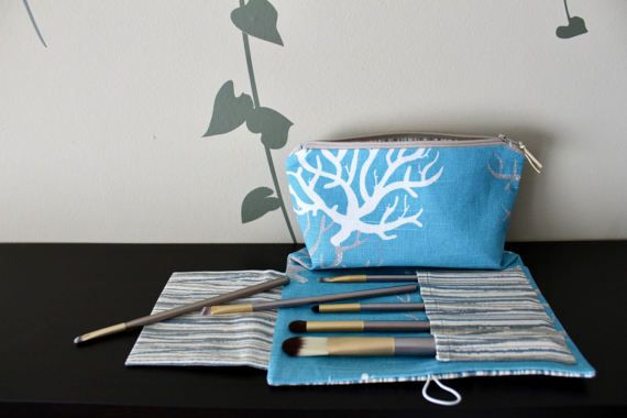 Small makeup bag with brush holder Pencil case Blue coral