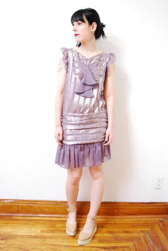 vintage 1990s / 90s does 20s flapper dress / chiffon / by yeye