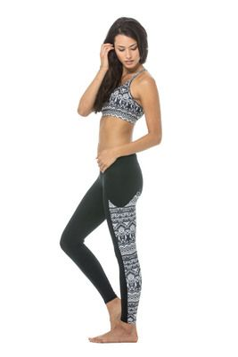 Zoe Tribal Running Tights - $105.95 - We love the latest legging style from Body Language.  Her name is Zoe and she is our new favourite.  Featuring a waistband to support (with a hidden waistband pocket) the core and a flattering colour blocked panel at the side with the new Tribal Print.     #fireandshine #yoga #fashion #ethical #activewear #loungewear #bodylanguage #black