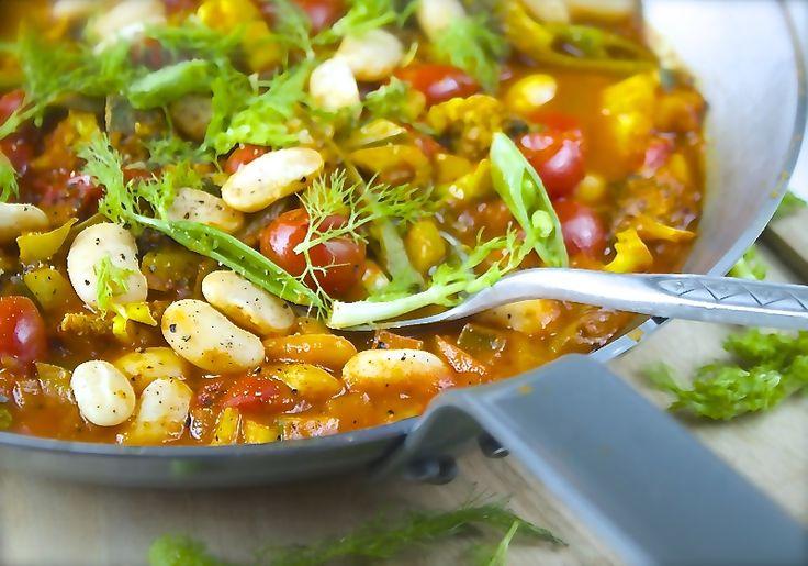 Vegetargryte - hvite bønner i curry