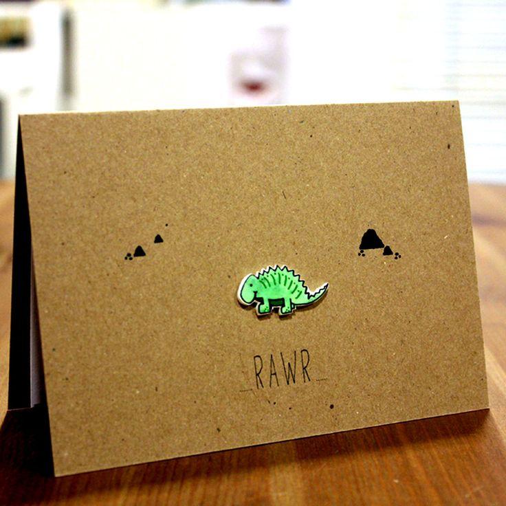 Handmade Dinosaur Card. Birthday Card. Boyfriend Card