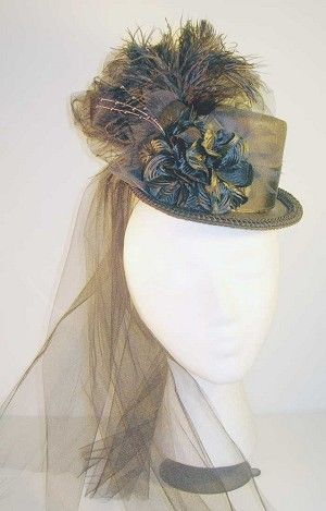 Victorian English Riding or Steam Punk Top Hat in Black-on-Black