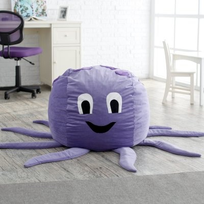The Octopus Critter Foam Bean Bag Chair is the best underwater friend your kid could ask for. This amicable eight-armed octopus comes with an inner liner stuffed with repurposed furniture-grade foam that is durable enough to withstand all the love your kids can throw at it. Unlike a real octopus this friendly fellow doesn't have a hard beak but he