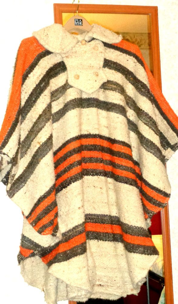 Vintage Women's Tribal Style Wool? Serape Style Large Poncho