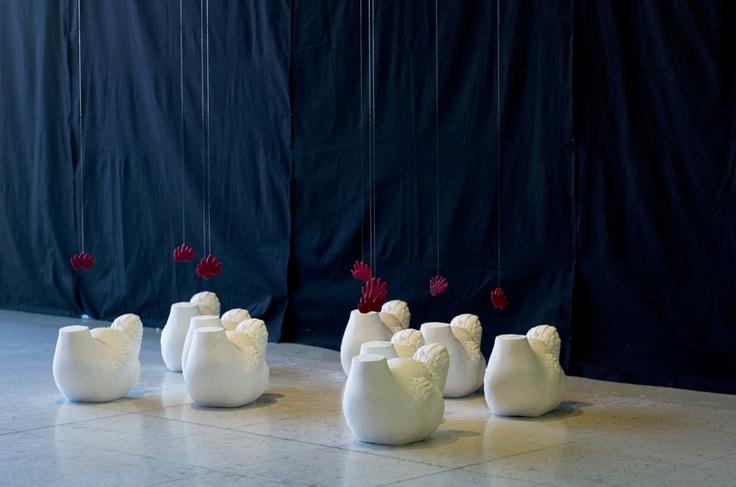 Sculpture installative réalisée à l'hiver 2013 par Camille Dupuis, étudiante de 2e année.
