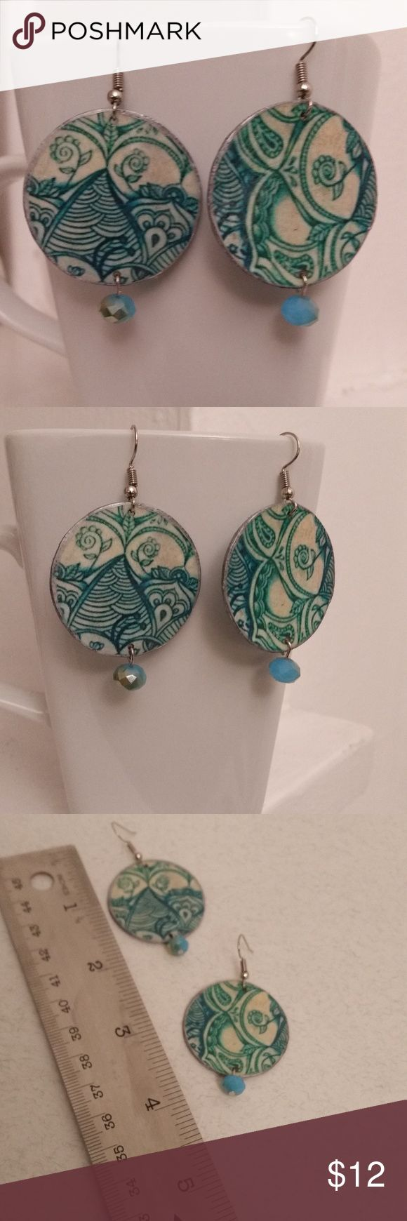 Hand Crafted - Blue Wallpaper Paper Earring - OOAK This is a set of OOAK hand made paper earrings.  This is made out of recycled cardboard, decoupage glue, blue beads and ear wires. It measures 1 /2 inches long and 1 3/8 inches wide. This is set of earring were made in the USA from a pet free and smoke free environment.  They are so light weight and unique. Christine Makes Things Jewelry Earrings