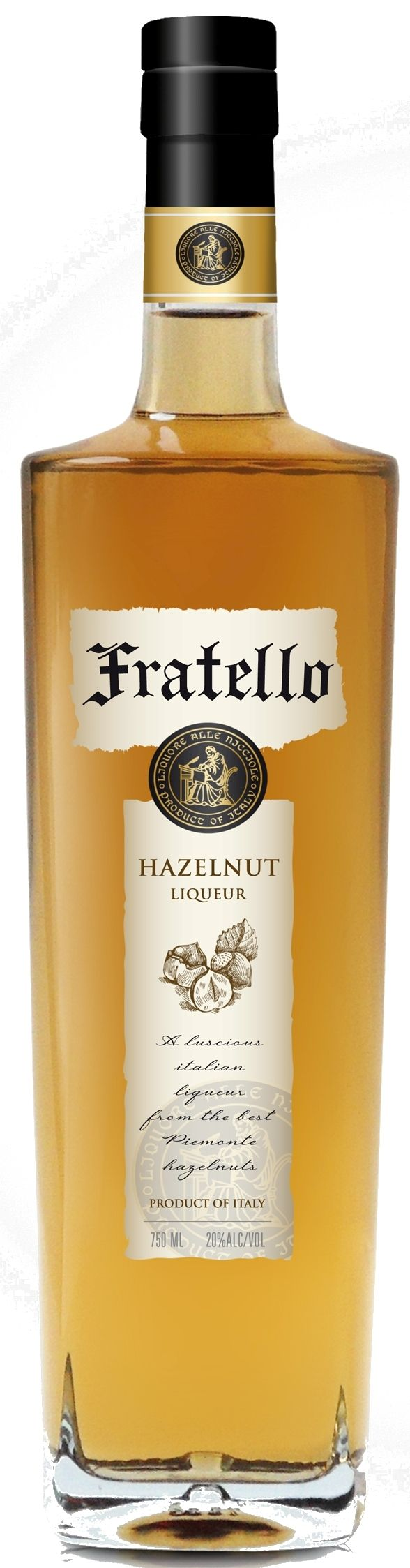 Fratello Hazelnut Liqueur Produced by the Francoli Distillery in Italy's beautiful Lake District of Piemonte, Fratello is made from toasted hazelnuts and infusions of cocoa, vanilla berries and elderflowers. With a tasty aroma of fresh cracked hazelnuts, peanut butter and cheesecake, this subdued, mildly flavored drink will be enjoyed by all.