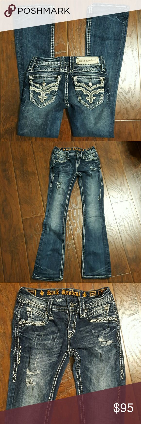 ROCK REVIVAL Jeans size 25 May Bootcut Distressed ROCK REVIVAL Jeans size 25 May Bootcut. Distressed Inseam is 31 inches. Rock Revival Jeans Boot Cut