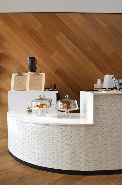 Love the hexagon #tile on the counter face! Saint Frank Coffee | San Francisco
