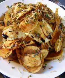 Homemade Potato Chips With Parmesan, Rosemary, Balsamic Syrup & White ...