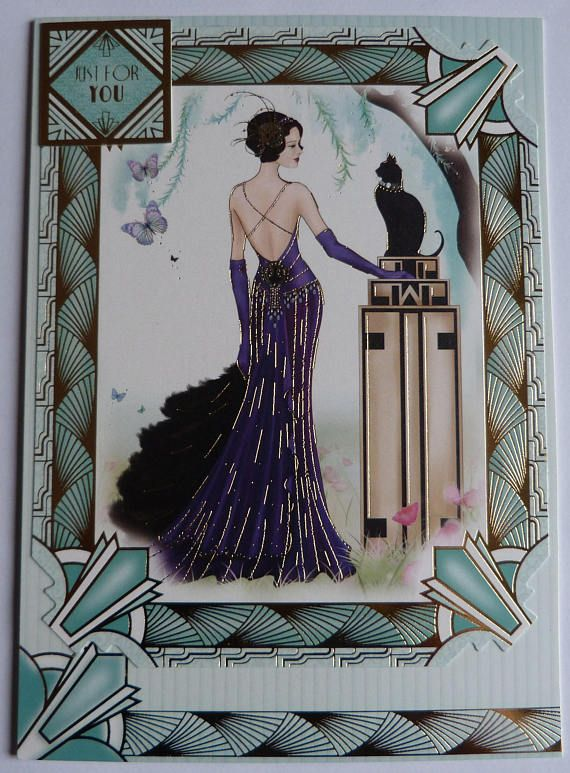 Art Deco Inspired Card, Great Gatsby Inspired Card, Lady With The Cat Card, OOAK, Handmade Card For Her, Luxury Birthday Card, Home Decor
