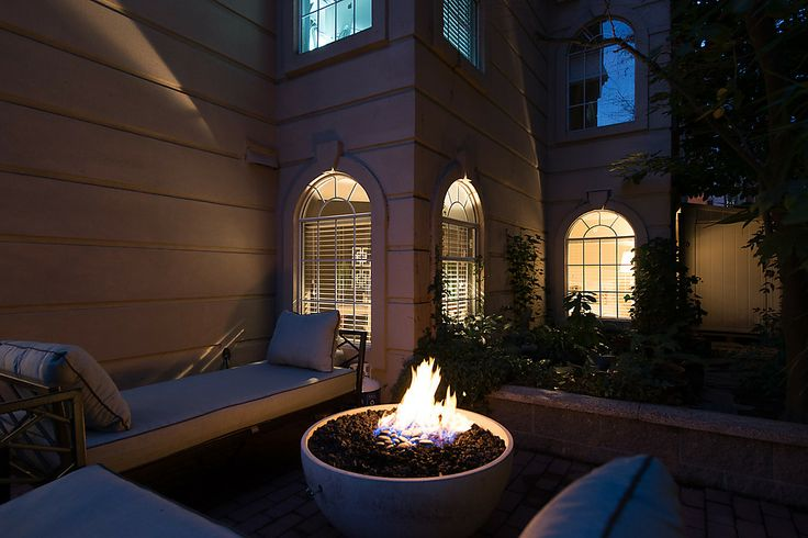 Fire pit works of propane and provides heat and a fantastic ambiance.
