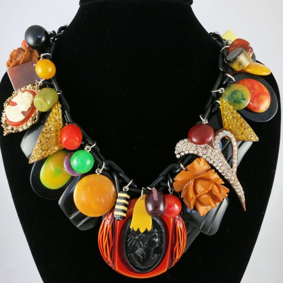 Vintage Bakelite Charm Necklace
