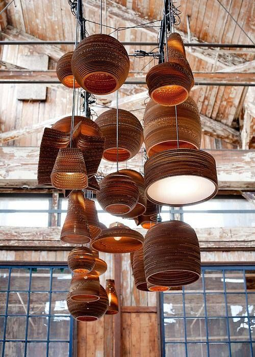 Scrap light shades made entirely from re- purposed cardboard boxes by Graypants.
