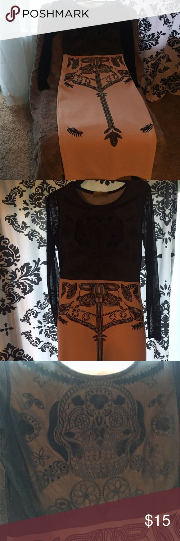 Bodycon beige and black mesh sugar skull dress Longish mesh sheer sleeves with a trendy sugar skull on the chest. Curve hugging and peach/beige colored bottom half with lovely black design. Midi length and fitted. Dresses Midi