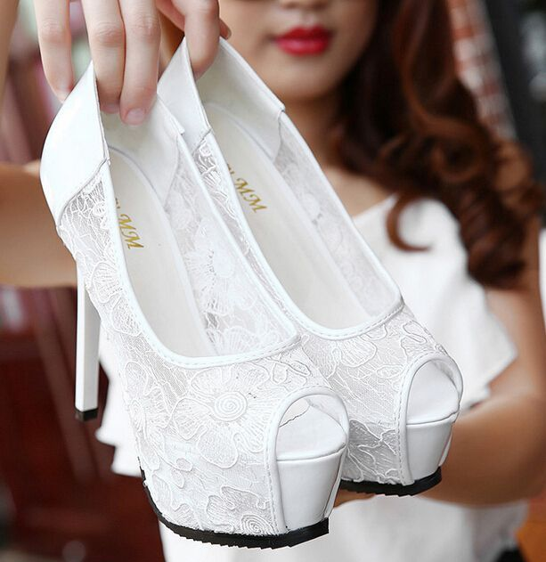 8-free shipping 2015 new vogue sexy single shoes women lace pumps ladies fashion peep toe platform high heels white black 14cm alishoppbrasil