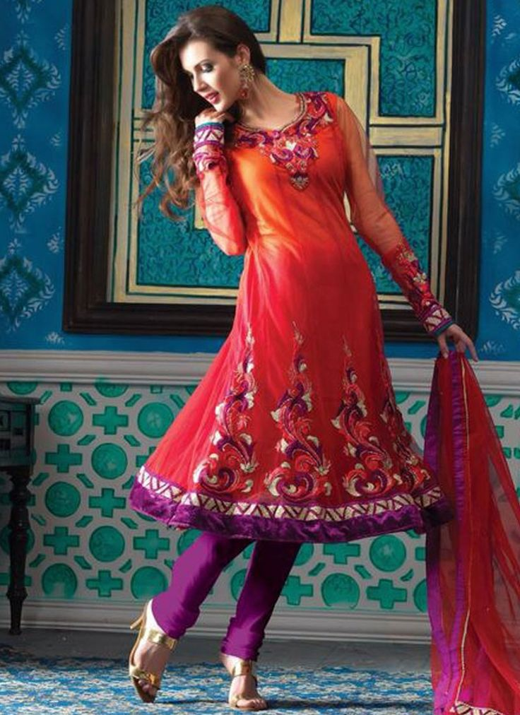 Entrancing Lace Work Red Net Anarkali Suit