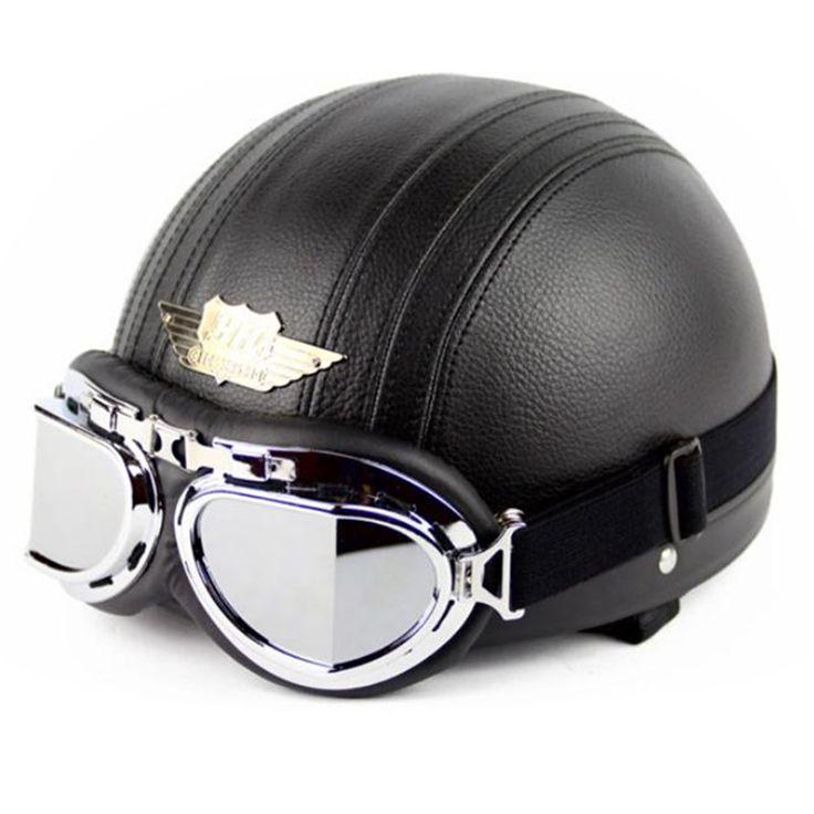 sale professional leather cover motorbike helmet novelty motorcycle helmet classic retro #novelty #motorcycle #helmets