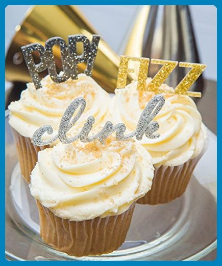 """New Years Cupcake Toppers - """"POP! Fizz Clink"""" New Years Eve Party Cupcake Toppers Silver Gold and Black Party Decor - Venue and reception decor (*Amazon Partner-Link)"""