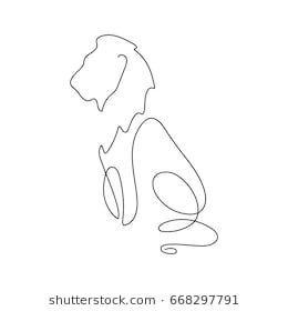 Silhouette de dessin au trait de lion. Style de minimalisme dessiné à la main. Illustration …..   – Tattoo