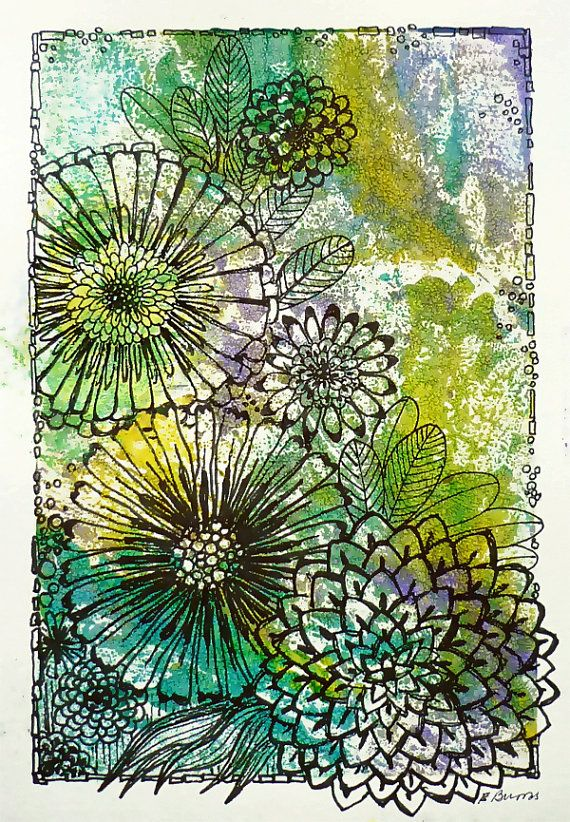 Original Monotype and Ink Drawing Bloom by DancingGirlArt on Etsy, $24.00