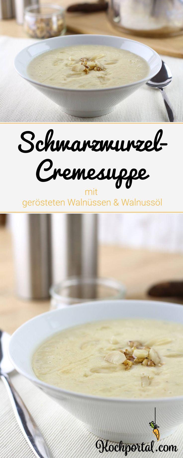 Schwarzwurzelcremesuppe mit gerösteten Walnüssen und Walnussöl - #Wintersuppe #schwarzwurzel #schwarzwurzelcremesuppe #schwarzwurzelsuppe