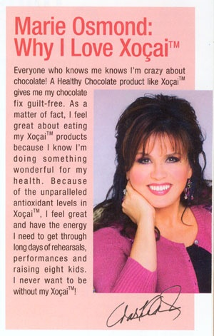Marie Osmond:  Why I love Xocai Healthy Chocolate.  Save 20% & FREE Shipping available at http://ColdPressedChocolate.com.
