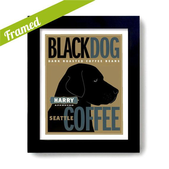 """Black Lab Art Retriever Coffee Art Black Dog Art Print Personalized  PLEASE LEAVE YOUR PERSONALIZED INSTRUCTIONS IN """"Notes To DexMex"""" FOR NAME AND"""