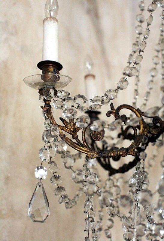 Exquisite Antique European Brass Chandelier Six Ar