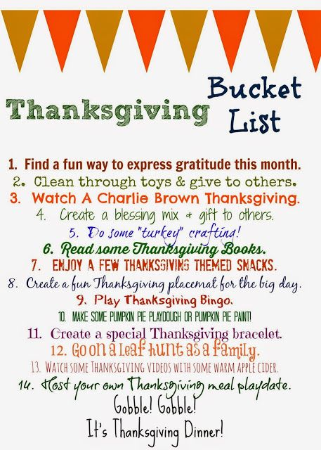 Thanksgiving Bucket List (Free Printable). Fun list of activities to do this Thanksgiving season with your family!