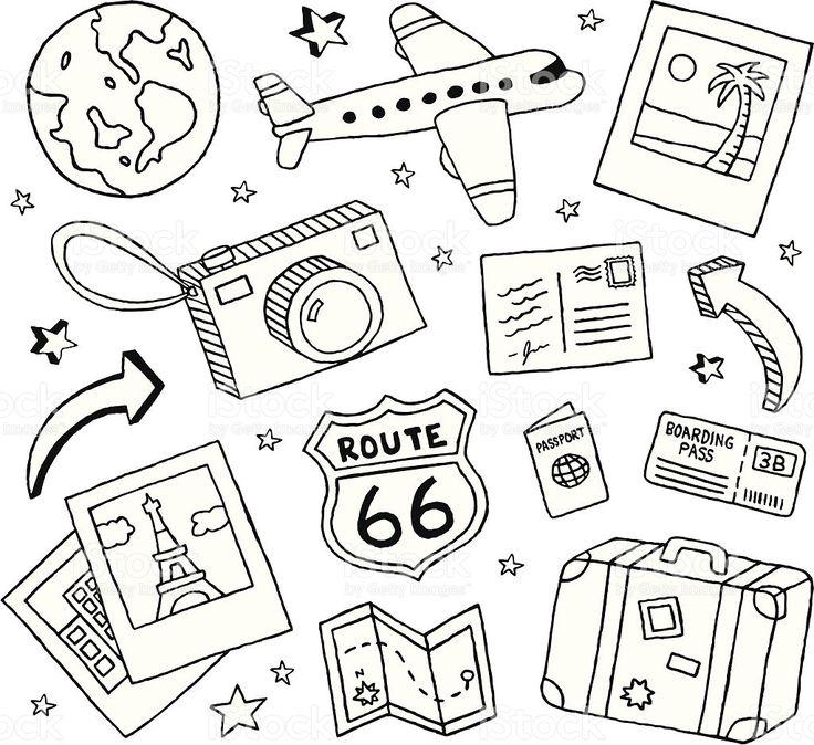 Travel Doodles royalty free stockvectorbeelden
