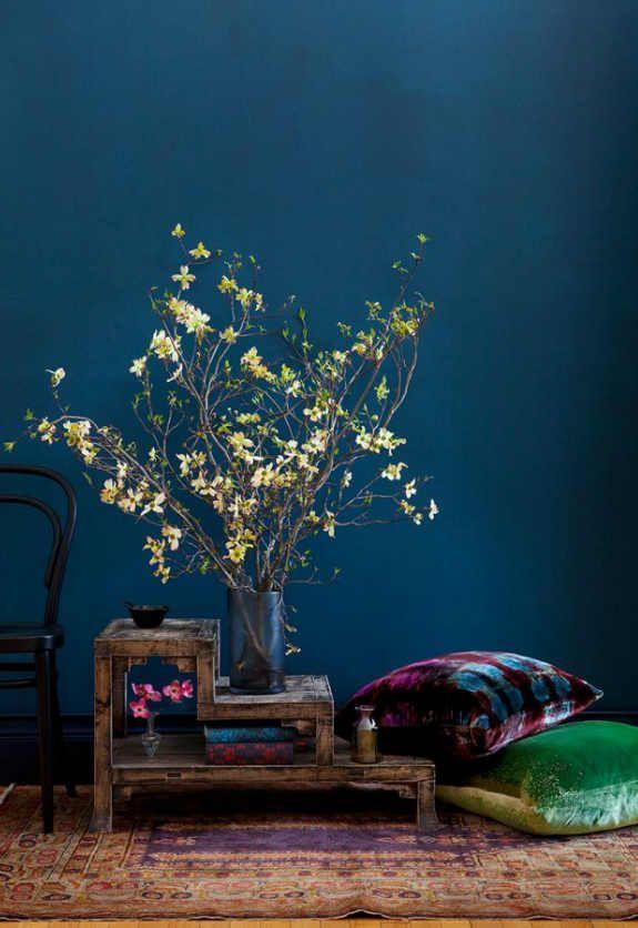 Dunkle Wand, helle Zweige setzen einen Akzent