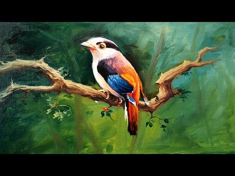 A Bird Painting With Oil Colors On Canvas By Paintlane | OIL PAINTING - YouTube