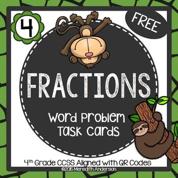 Fractions! This is a set of 16 word problem task cards. These can be used for either 3rd or 4th graders, or even as review for your 5th graders. All of the cards have a QR code for self-checking. In my paid task card resources, all cards are also included without QR codes.