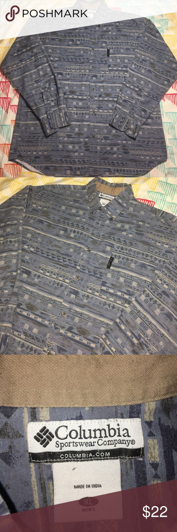 Columbia Sportswear Buttondown Aztec Pattern Shirt Size XL - Condition 9.5/10 Columbia Shirts Casual Button Down Shirts