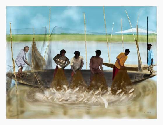 Pescatori di hilisha (fishers of hilisha) - Limited Edition Fine Art Print by Maria antonietta  Calabrese on thepixeler.