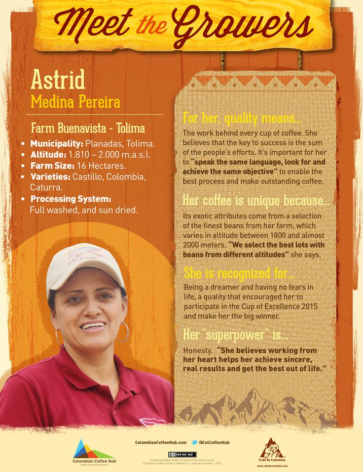 Meet Cup Of Excellence winner: Astrid Medina | Colombian Coffee Hub.   Astrid Medina and her coffee from Buenavista - Tolima, got 90,2 points in the Colombia Cup of Excellence, and we wanted to tell you more about this exceptional grower and her story.