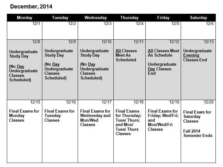 Fall 2014 Final Exam Schedule